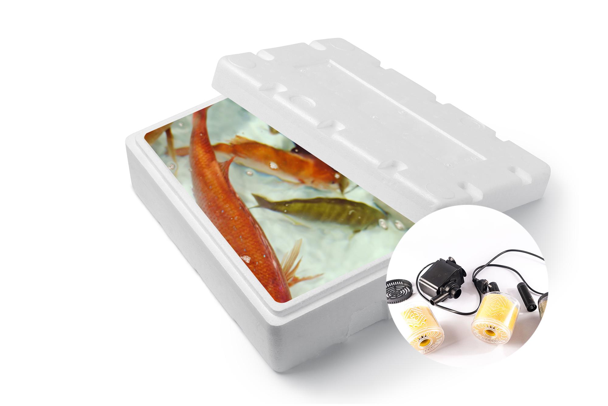 ・活魚用スチロール・いきいきポンプ・乾電池・テープ・ネット・はかり